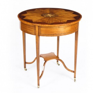 Antique Sheraton Revival Satinwood Centre Occasional Table c1890