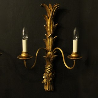 French Set Of 4 Twin Arm Antique Wall Lights