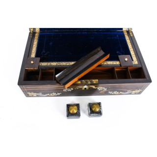Antique Coromandel Brass & Pewter Inlaid Writing Slope 19th C
