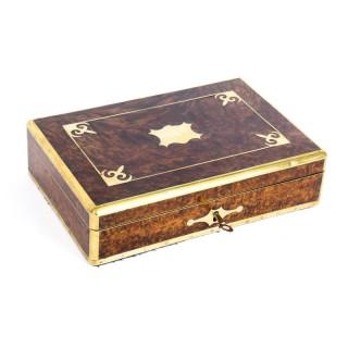Antique Victorian Burr Walnut & Cut Brass humidor 19th C