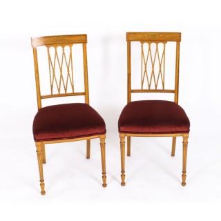 Antique Pair Satinwood Sheraton Revival Side Chairs by Maple & Co C1870 19th C