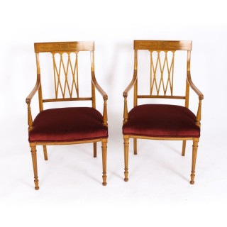 Antique Pair Sheraton Revival Satinwood Armchairs by Maple & Co C1870 19th C