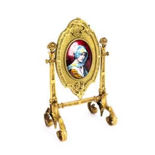 Antique French Ormolu & Limoges Enamel Table Mirror F.Bienvue 19th C