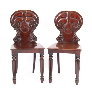 Antique Pair Regency Mahogany Hall Chairs by Gilllows C1820 19th Century