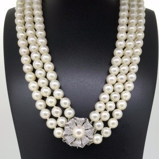 Three Strand Pearl Choker