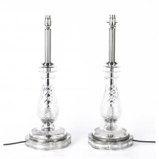 Antique Art Deco Pair Cut Glass & Silver Plate Table Lamps Circa 1930