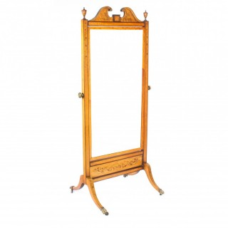 Antique Edwardian Satinwood Marquetry Inlaid Cheval Mirror c.1900