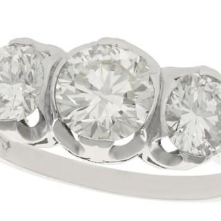 2.17 ct Diamond and Platinum Trilogy Ring - Vintage Circa 1940