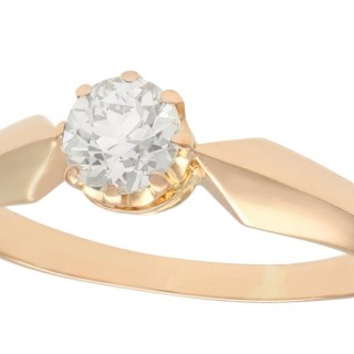 0.62ct Diamond and 14ct Rose Gold Solitaire Ring - Antique Circa 1910