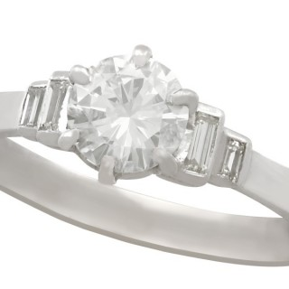 1.06 ct Diamond and 18 ct White Gold Solitaire Ring - Art Deco - Vintage Circa 1940