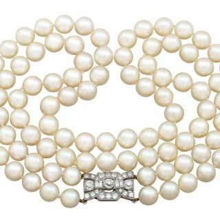 Double Strand Pearl Necklace with 1.78 ct Diamond Set Clasp - Antique and Vintage
