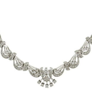 5.57ct Diamond and 14ct White Gold Necklace - Vintage Circa 1960