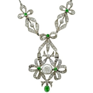 2.53 ct Diamond and 0.15 ct Peridot, Platinum Necklace- Antique Circa 1900