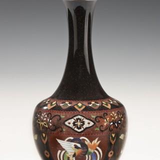 A black Japanese cloisonne vase