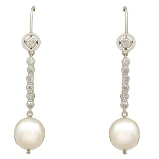 Cultured Pearl and 0.64ct Diamond, Platinum Drop Earrings - Vintage Circa 1950