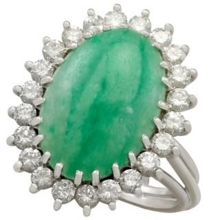 4.91ct Jadeite and 1.00ct Diamond, 15ct White Gold Dress Ring - Vintage Circa 1970