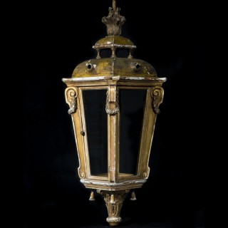 Antique Neoclassical Giltwood Hall Lantern