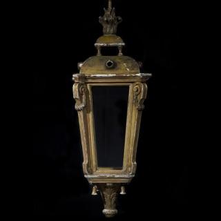Antique Louis XVI Style Giltwood Hall Lantern