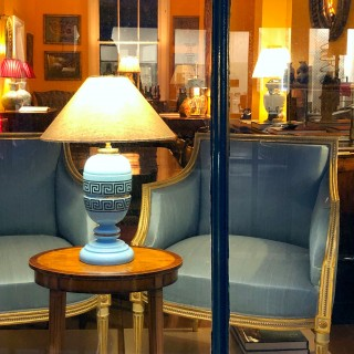 Antique Opaline Glass and Greek Key Table Lamp