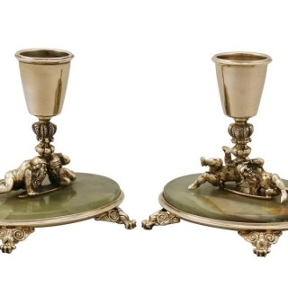 Italian Silver Gilt and Marble Candlesticks - Antique Circa 1935