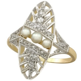 Seed Pearl and 0.48ct Diamond, 18ct Yellow Gold and Platinum Set Dress Ring - Antique French Circa 1920