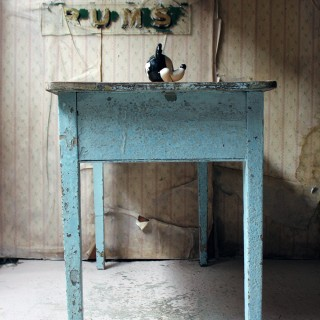 A Victorian Blue Painted Pine Side Table c.1880