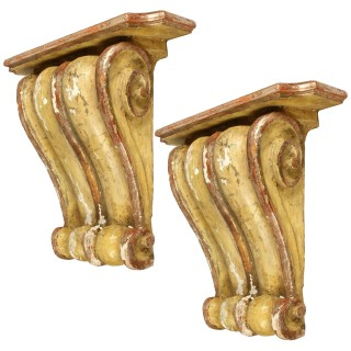 Antique Pair of Painted Wall Brackets