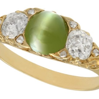 1.35ct Chrysoberyl and 0.82ct Diamond, 18ct Yellow Gold Dress Ring - Antique Victorian