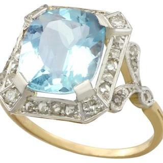 5.38ct Aquamarine and 0.65ct Diamond, 18ct Yellow Gold Dress Ring - Antique Circa 1925