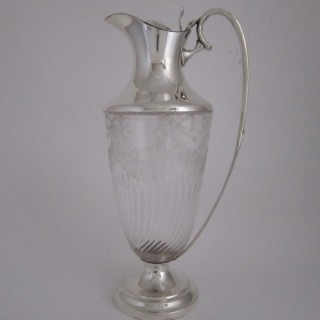 Antique Edwardian Sterling silver and glass claret jug