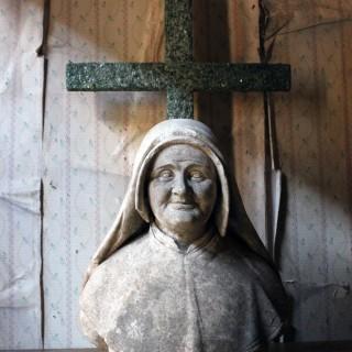 19thC Italian Carved Marble Bust of a Nun