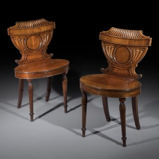 Unusual Pair of Regency Mahogany Hall Chairs
