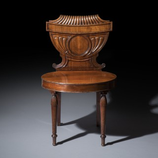 Unusual Pair of Regency Mahogany Hall Chairs