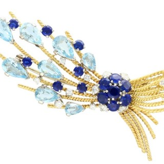 4.90ct Aquamarine and 3.29ct Sapphire, 0.75ct Diamond and 18ct Yellow Gold Spray Brooch - Vintage Circa 1960