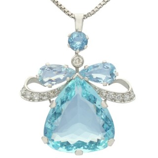 36.76ct Aquamarine and 1.04ct Diamond, 18ct White Gold Pendant - Vintage Circa 1950