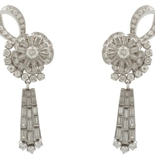 8.53ct Diamond and Platinum Drop Earrings - Art Deco - Vintage Circa 1940
