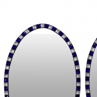 A PAIR OF STUNNING IRISH MIRRORS WITH BLUE GLASS & CRYSTAL