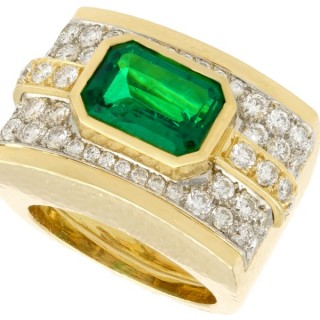 3.50ct Emerald and 1.72ct Diamond, 18ct Yellow Gold and Platinum Dress Ring by Andrew Clunn - Vintage Circa 1980