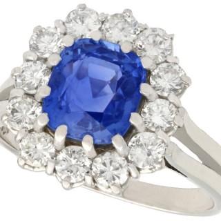 2.70ct Ceylon Sapphire and 1.10ct Diamond, 18ct White Gold Dress Ring - Vintage Circa 1950