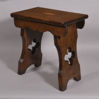 Antique 19th Century Oak Slab Ended Stool