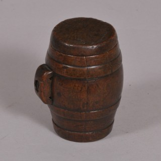 Antique Treen 19th Century Fruitwood Barrel