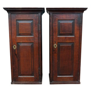 Antique Pair Of Oak Cabinets, Welsh 18th Century