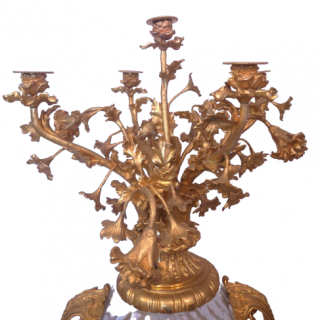 Pair Of Very Large 19th Century Crystal And Gilt Bronze Candelabra