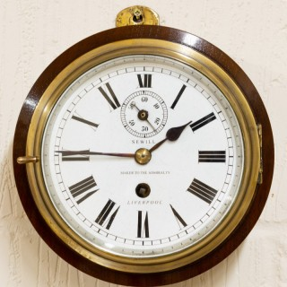 Edwardian Brass Cased Ships Clock With Mahogany Surround by Sewill, Liverpool