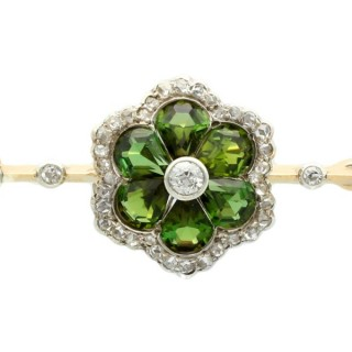2.88ct Tourmaline and 0.86ct Diamond, 18ct Yellow Gold and Silver Set Bar Brooch - Antique Victorian