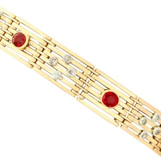 1.38ct Ruby and 0.36ct Diamond, 15ct Yellow Gold Gate Bracelet - Antique Circa 1910