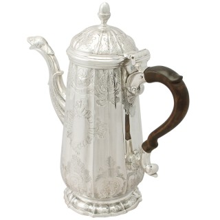 Sterling Silver Coffee Pot by John Pollock - Antique George II