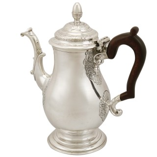 Newcastle Sterling Silver Coffee Pot - Antique George II (1744)