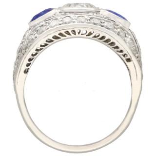 1.94ct Diamond and 0.90ct Sapphire, Platinum Dress Ring - Art Deco - Antique Circa 1930