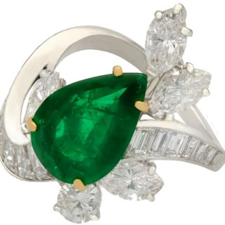 3.23ct Emerald and 3.91ct Diamond, Platinum Dress Ring - Vintage Circa 1950